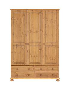 richmond-3-door-4-drawer-solid-pine-wardrobe
