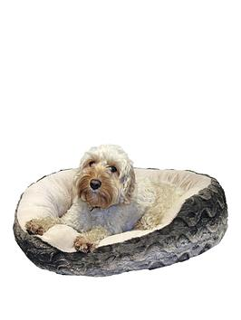rosewood-40-winks-bedding-grey-amp-cream-snuggle-oval-plush-25-inch