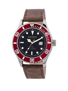 kahuna-kahuna-blue-dial-red-accents-leather-strap-mens-watch