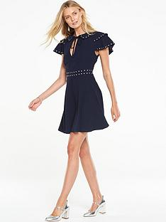 v-by-very-stud-ruffle-sleeve-tea-dress