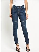 All-Over Slash Skinny Jean
