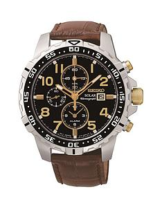 seiko-seiko-solar-black-face-gold-highlights-chronograph-leather-strap-mens-watch