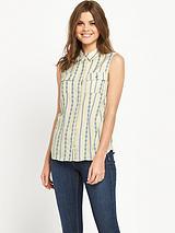 Sleeveless Jacquard Stripe Blouse
