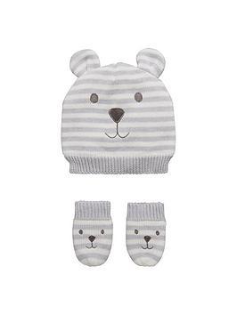 mini-v-by-very-baby-boys-stripy-bear-hat-and-mittens-set