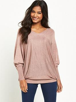 warehouse-mesh-sleeve-v-neck-jumper