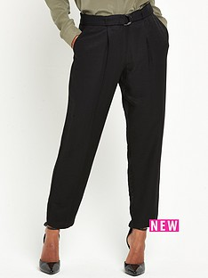 warehouse-soft-belted-trousers-black