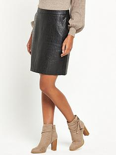 warehouse-croc-pu-skirt-black
