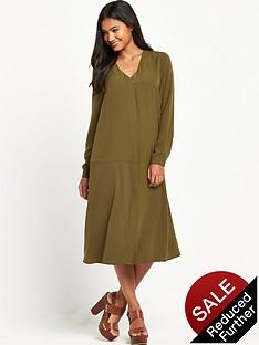 warehouse-dropped-waist-shirt-dress-khaki