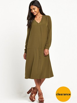warehouse-dropped-waist-shirt-dress-khaki