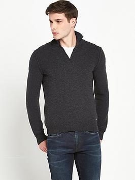 boss-orange-knitted-zip-neck-jumper