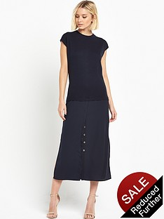 warehouse-woven-mix-hybrid-shirt-dress