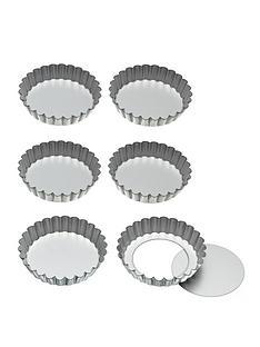 kitchencraft-10cm-loose-bottom-tart-tins-set-of-6