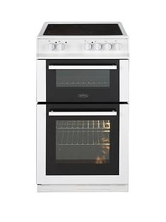 Belling FS50EDOC 50cm Double Oven Electric Ceramic Cooker with Optional Connection - White