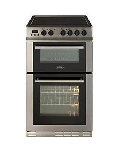 Belling FS50EDOPC 50cm Double Oven Electric Ceramic Cooker with Optional Connection - Stainless Steel