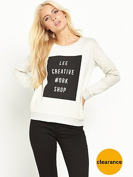 lee-logo-crew-sweat-top-ecru-mele