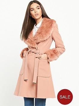 miss-selfridge-belted-waist-coat-withnbspfaux-fur-collar-pink