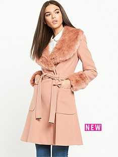 miss-selfridge-belted-waist-coat-withnbspfaux-fur-collar