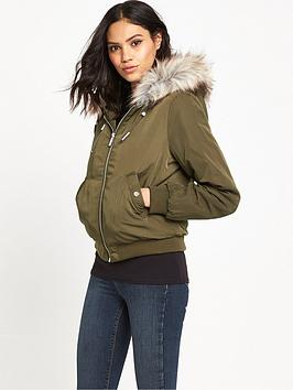 miss-selfridge-zip-hooded-bomber-with-fur-trim-khaki