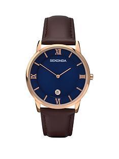 sekonda-sekonda-blue-dial-rose-coated-case-brown-leather-strap-mens-watch