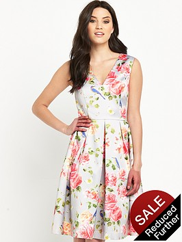 oasis-bird-and-rose-print-satin-skaternbsp