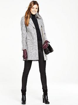 Oasis Boucle Formal Faux Fur Coat - Grey | very.co.uk