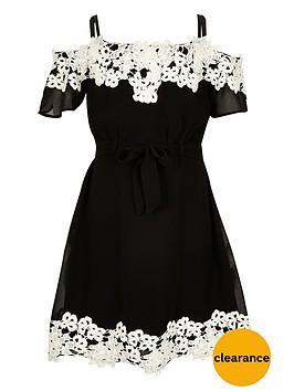 river-island-girls-black-lace-bardot-dress