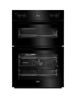 Image of Beko Bdf22300B 60Cm Built-In Electric Double Oven With Connection - Black - Oven With Connection