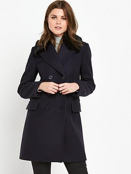 french-connection-platform-felt-faux-fur-collared-coat-utility-blue