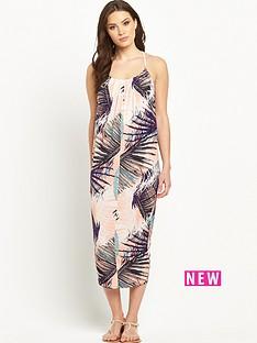 v-by-very-palm-print-cocoon-jersey-dress