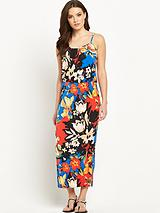 Strappy Jersey Printed Midi Dress