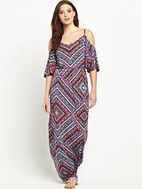 V Neck Cold Shoulder Jersey Maxi Dress