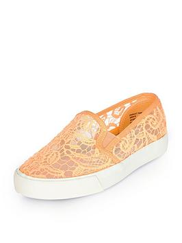 river-island-girls-coral-lace-plimsolls