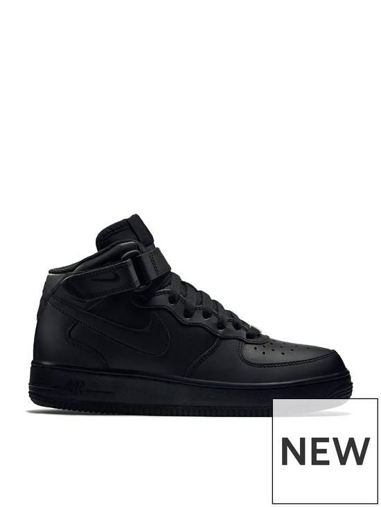 b3efc43d8 Nike Air Force 1 Mid 06 Junior Trainers - Black | very.co.uk