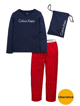 calvin-klein-2pce-woven-pj-set-with-bag-bluered