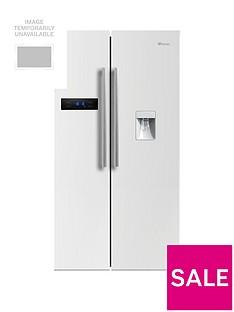 Swan SR70110W90cm American-Style Double Door Frost-FreeFridge Freezer with Water Dispenser - White Gloss Finish