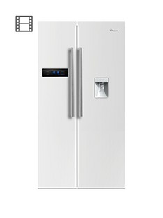 Swan SR70110W 90cm American-Style Double Door Frost-Free Fridge Freezer with Water Dispenser - White Gloss Finish