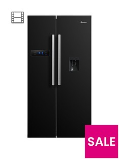 Swan SR70110B 90cm American-Style Double Door Frost-Free Fridge Freezer with Water Dispenser - Black