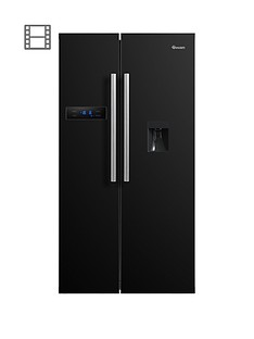 swan-sr70110bnbsp90cm-american-style-double-door-frost-free-fridge-freezer-with-water-dispenser-blacknbsp