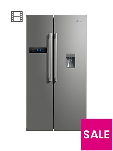 Swan SR70110S 89.5cm American-Style Double Door Frost-Free Fridge Freezer with Water Dispenser - Silver