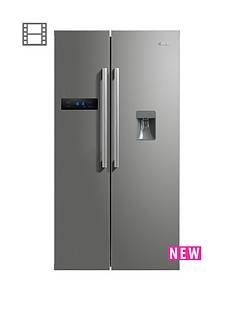 swan-sr70110snbsp90cm-american-style-double-door-fridge-freezer-with-water-dispenser-silver
