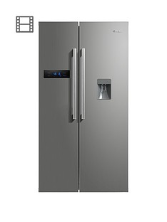 Swan SR70110S 90cm American-Style Double Door Fridge Freezer with Water Dispenser - Silver