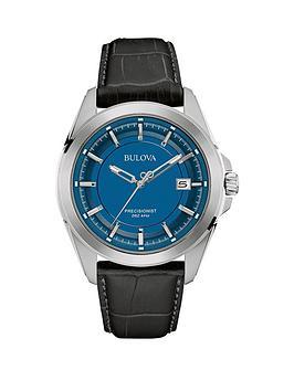 bulova-precisionist-blue-face-black-leather-strap-mens-watch
