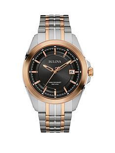 bulova-precisionist-black-dial-two-tone-stainless-steel-bracelet-mens-watch