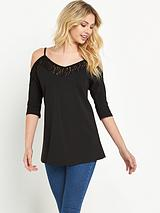 LACE CUT OUT 3/4 SLEEVE TUNIC