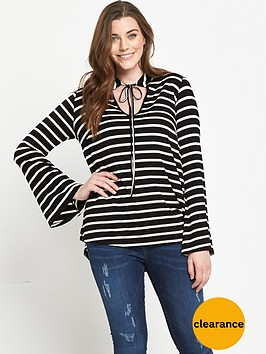 v-by-very-curve-striped-tie-front-jersey-top