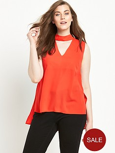 so-fabulous-high-neck-v-sleeveless-blouse-orange