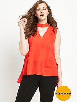 so-fabulous-high-neck-v-sleeveless-blouse-orange