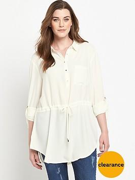 so-fabulous-tab-sleeve-waist-detail-longline-shirt