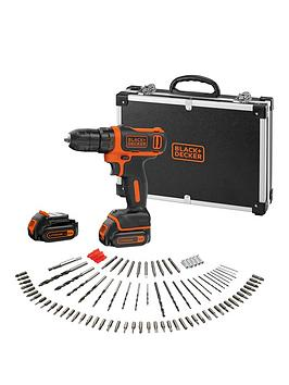 black-decker-bdcdd12bafc-108v-li-ion-drill-driver-with-2-batteries-charger-flight-case-and-100