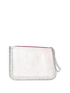 nicki-minaj-pink-trim-oversized-white-clutch-bag